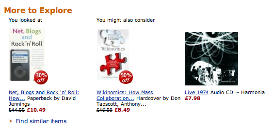 Amazon's recommendations for Net, Blogs and Rock'n'Roll